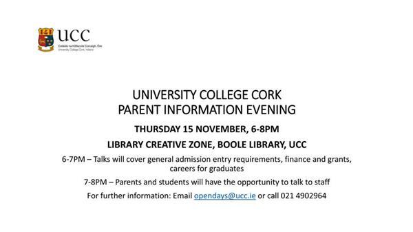 UCC Parent's information Evening