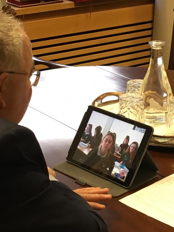 5th Year Politics and Society students took part in a video conference with Ceann Comhairle
