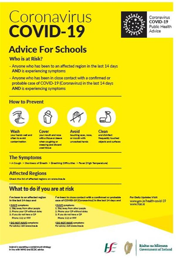 Update on advice for schools re Coronavirus